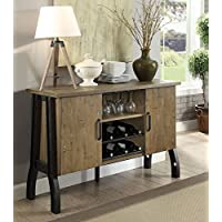 Kirstin Rustic Oak Metal/Wood Server by Furniture of America