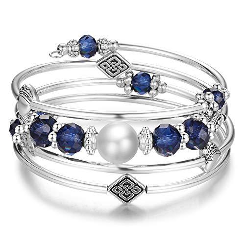 Wrap Bangle Layered Crystal Bracelet - Fashion Jewelry Bead Bracelet Gifts for Women Girls (05-Navy Blue) ()