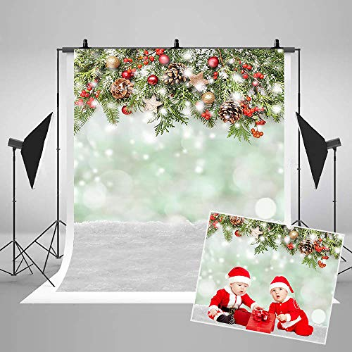 COMOPHOTO Christmas Photography Backdrops Winter Snowfield Printed Baby Photo Background for Pictures 5x7ft