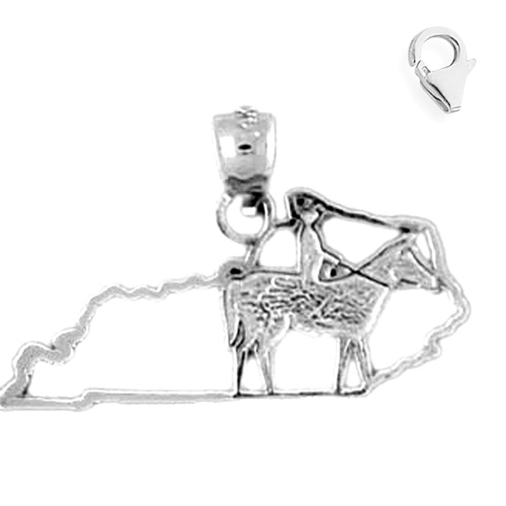 JewelsObsession Sterling Silver 16mm Kentucky Charm w//Lobster Clasp