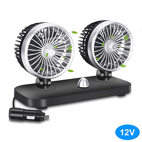 (Car Fan Electric 12V Car Fan 2 Speed Dual Head Auto Fan Cooling Air Circulator Auto Air Conditioner Portable Seat Cooling Low Noise Portable Air Cooling for (12V))