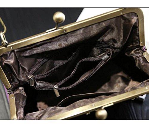 Bolsos Bolsos Bolsos Moda Salvaje Bolsos Retro Clip Hombro Bolsa De Mensajero Gray