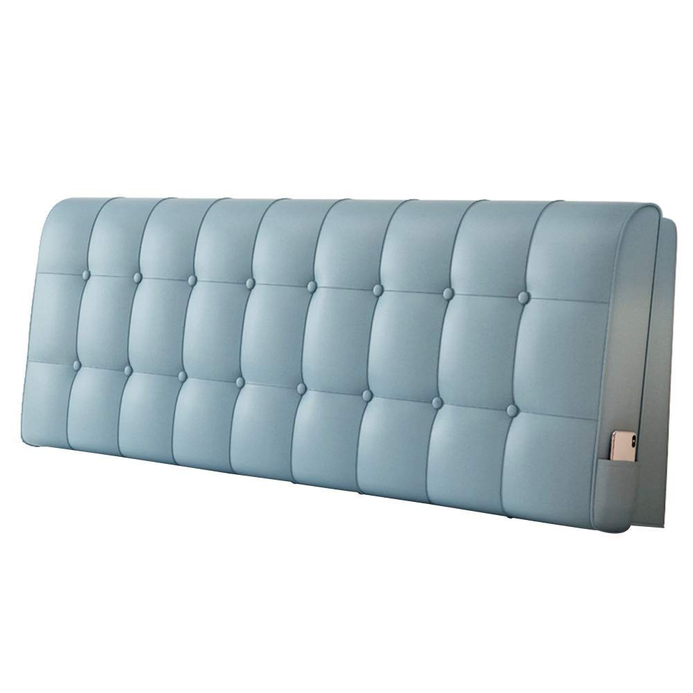 Lil Solid Color Waistboard Headboard Cushion, No Bed Backrest Soft Pack Double Bed Pillow Tatami Simple (Color : Blue)