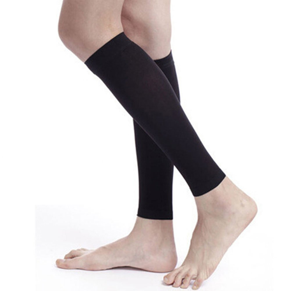 Spotbrace Medical Calf Leg Compression Sleeve, Elastic Thin Support Brace Men Women Varicose Veins, Pulled Muscle, Shin Splints, DVT, Leg Cramps, Yoga, Crossfit, Running, Travel - Black, 1 Pair by Spotbrace