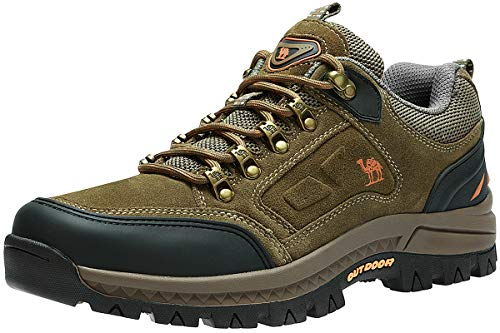 CAMEL CROWN Men's Outdoor Leather Hiking Shoes Breathable Lightweight Sneaker for Walking Trekking