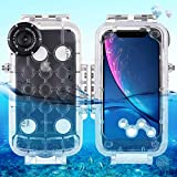 HAWELL iPhone XR Diving Case, Professional [40m/130ft] Surfing Swimming Snorkeling Photo Video Waterproof Protective Case Underwater Housing for iPhone with Lanyard (iPhone XR Transparent)