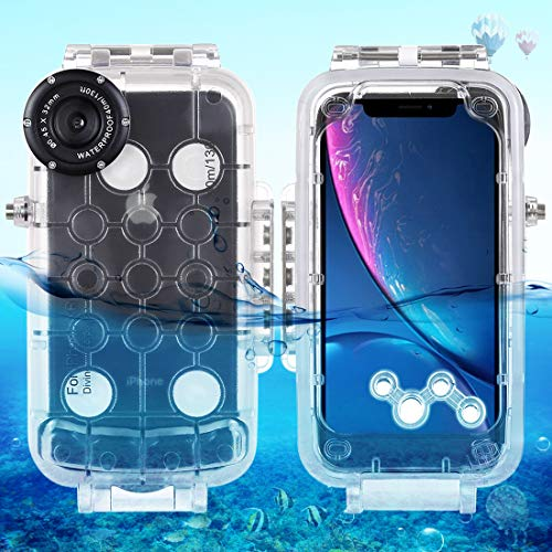 HAWELL iPhone XR Diving Case, Professional [40m/130ft] Surfing Swimming Snorkeling Photo Video Waterproof Protective Case Underwater Housing for iPhone with Lanyard (iPhone XR Transparent) from Hawell