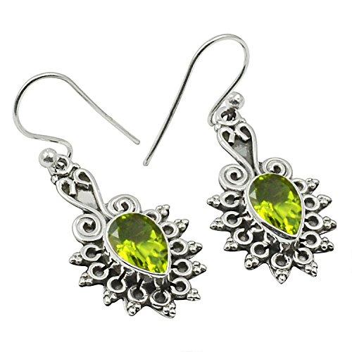 Natural Cabochon Pear Shape Peridot Girls Sterling Silver Earrings Earrings