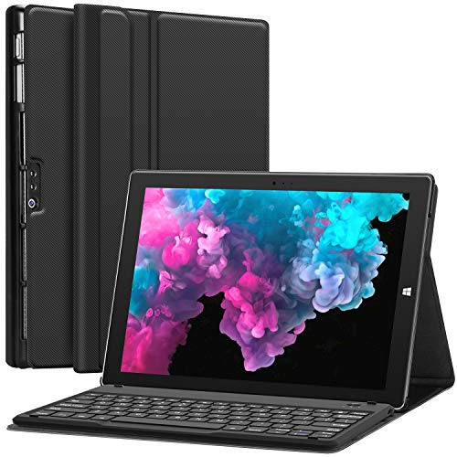 Microsoft Surface Pro 6 Case with Keyboard for Microsoft Surface Pro 6/ Surface Pro 5 2017/ Surface Pro 4 12.3 inch Tablet - Folio Stand Case - Detachable Wireless Type Cover Keyboard - Black (Best Keyboard Surface Pro 4)