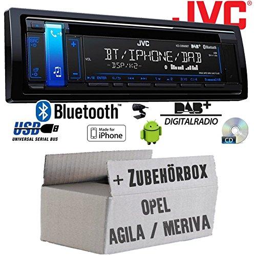 Opel Agila A Meriva A schwarz - JVC KD-DB98BT - Bluetooth | DAB+ | CD | MP3 | USB | Android | iPhone Autoradio - Einbauset JUST SOUND best choice for caraudio