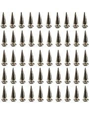 Qililandiy 50Pcs Silvery Punk Rivets Cone Spikes Metallic Screw Back Studs for DIY Clothing, Jackets, Shoes, 10x25mm / 0.39x0.98 inch