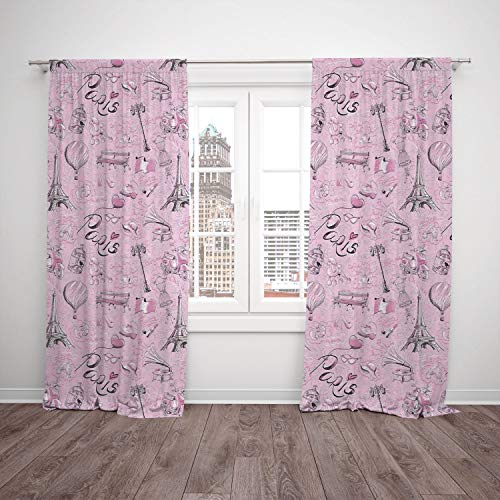 iPrint 2 Panel Set Window Drapes Kitchen Curtains,Paris Decor Paris Themed Sketch Art with Bike Dog Shoes Street Lamp Hot Air Ballon Bird in Cage,for Bedroom Living Room Dorm Kitchen Cafe