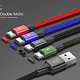 4in1 ケーブル ライトニングケーブル Micro USB Type C 3in1ケーブル Baseus 充電ケーブル 3A急速充電 iPhone XS XR X 8 8plus Macbook 1本4役 多機種対応 android 【MicroUSB×2】