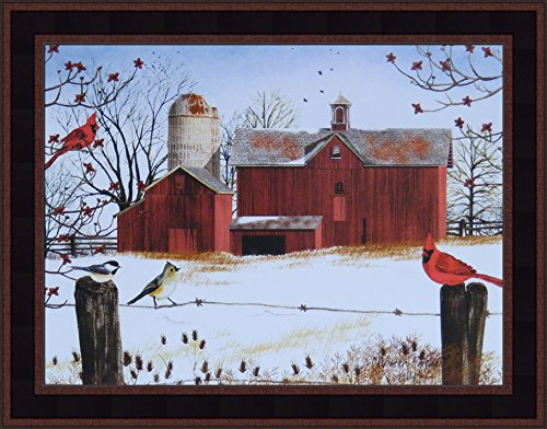Home Cabin Décor Winter Friends by Billy Jacobs 15x19 Red Barn Cardinals Birds Snow Seasons Fencepost Framed Folk Art Print (Best Friends Framed Print)