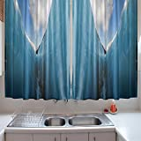 oFloral Kitchen Curtains Nature Frozen Ice Mountains White Blue Kitchen Curtains Window Drapes 2 Panels Set for Kitchen Cafe 55 W X 39 L Inches