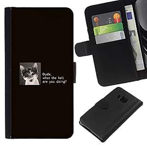 NEECELL GIFT forCITY // Billetera de cuero Caso Cubierta de protección Carcasa / Leather Wallet Case for HTC One M7 // Tío Gato divertido