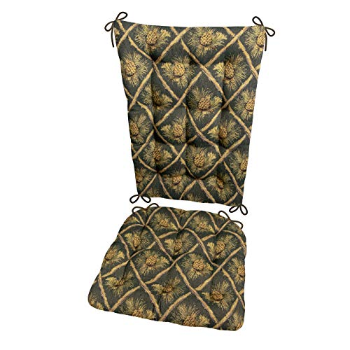 (Wilderness Pinecones Green Rocking Chair Cushions - Size Extra-Large - Latex Foam Filled Seat Pad & Back Rest (Pine Cones/Presidential))