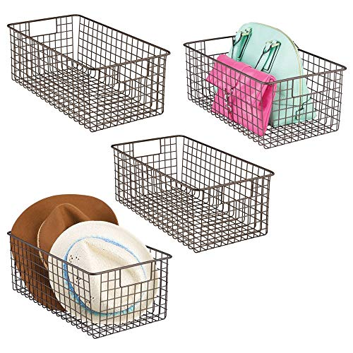 mDesign Deep Farmhouse Decorative Metal Wire Storage Basket Bin with Handles for Organizing Closets, Shelves and Cabinets in Bedrooms, Bathrooms, Entryways and Hallways - 12