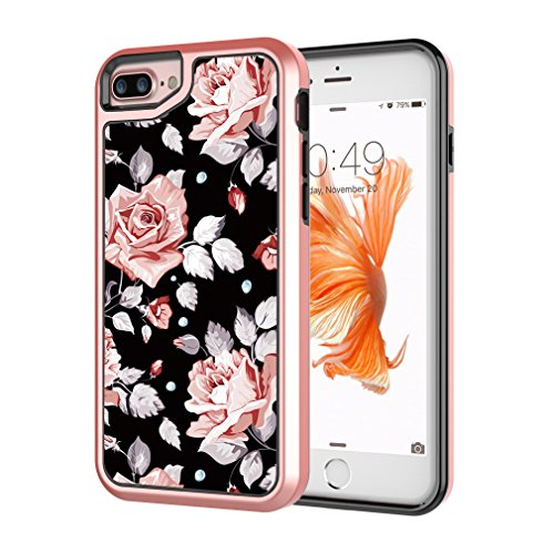"""MOREFINE iPhone 7 Plus Case, iPhone 8 Plus Case, 3 Layer Drop Absorption Anti-Scratch Soft TPU Bumper with Acrylic, Hard PC Protective Floral Case for iPhone 6/7/8 Plus 5.5"""""""