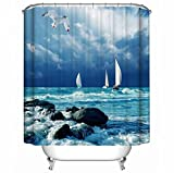 KANATSIU Seagulls and Sailboats Shower Curtain,with 12 Plactic Hooks,100% Made of Polyester,Mildew Resistant & Machine Washable,Width x Height is 60x72
