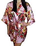 Women's Satin Floral Kimono Short Bridesmaid Robe W/Pockets - Light Pink M/L