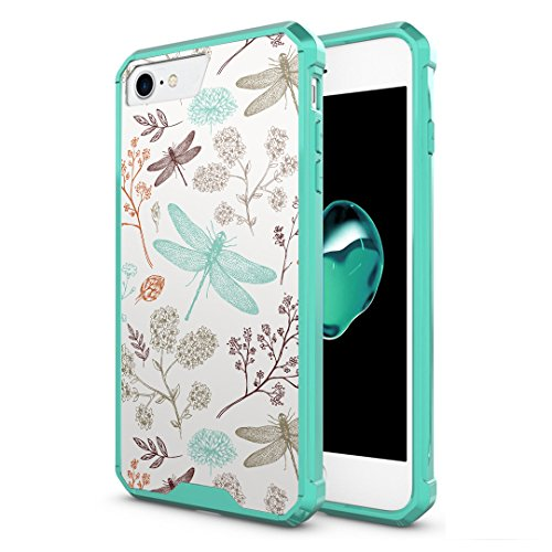 iPhone 7 Case, Capsule-Case Hybrid Slim Hard Back Shield Case with Fused TPU Edge Bumper (Teal Green) for iPhone 7 - (Dragonfly)