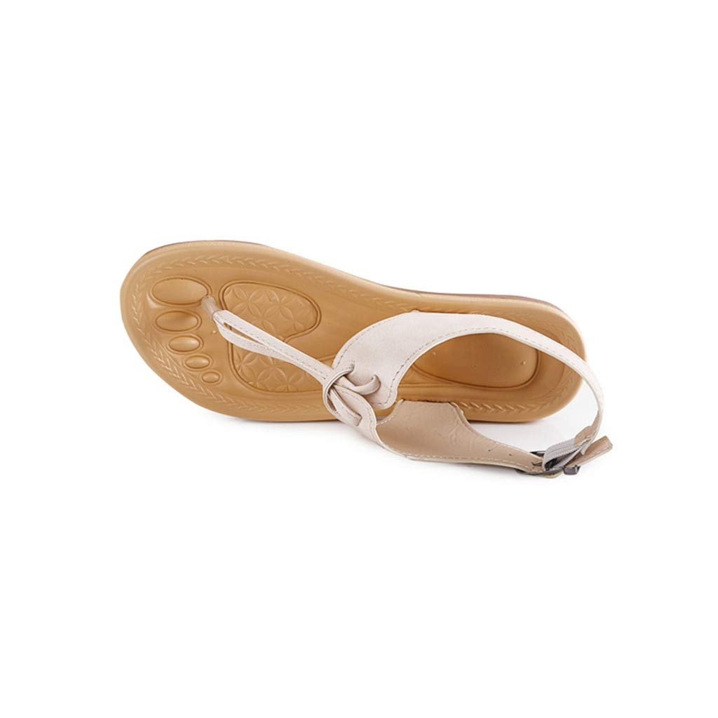 VEMOW Womens Flat Sandals Casual Solid Beach Flip Flop Spring and Summer Buckle Strap Work Shoes Flat with Sandals for Walking Vacation