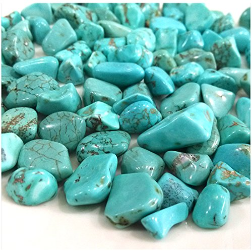 fengshuisale Turquoise Tumbled Stone Gemstone Crystal Healing Rock Wiccan Supplies Natural Crushed Stones (About 300G) W3059