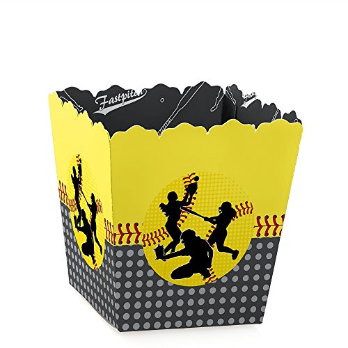 Big Dot of Happiness Grand Slam - Fastpitch Softball - Party Mini Favor Boxes - Birthday Party or Baby Shower Treat Candy Boxes - Set of 12