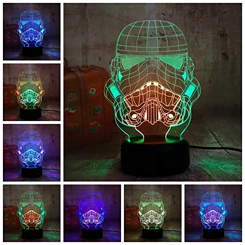 Tianyifengg 3D-LED-7 Farbe-Remote-Nachtlicht-Cool Mixed Double Planet Empire Nachtlicht Schlaf Tischlampe Schlafzimmer…