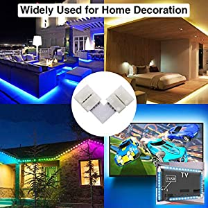 Led Strip Light Connectors, L Shape 4 Pins Light Strips Solderless Connectors for 5050 3528 SMD RGB with 3Pcs 4-pin Male Connector 10-Pack 10mm Line Shape Connectorss 12V 72W Clip