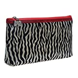 Leopard Print Zipper Cosmetic Makeup Case Pouch Travel Bag Tote (Zebra)