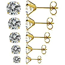 JewelrieShop Best Mothers Day Gifts Stainless Steel Stud Earrings Set for Women, Hypoallergenic Nickel-free Piercing Cubic Zirconia Stud Earrings 5 Pairs 3-7mm