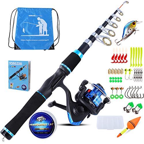 Kit Fishing Telescopic (YONGZHI Kids Fishing Pole with Spinning Reels,Telescopic Fishing Rod,Shoulder Pocket,Full Kits Tackle Box for Travel Freshwater Bass Trout Fishing)