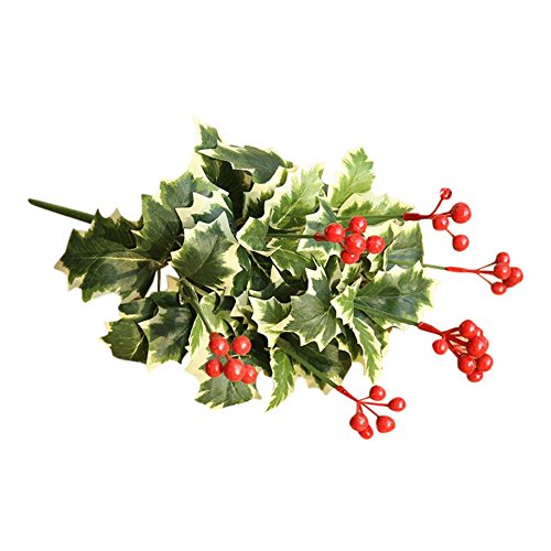 VOWUA Artificial Flowers Real Natural Pretty Crafted Leaf Fruit Pomegranate Berries Bouquet Floral Garden Home Decor