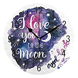 Bedroom Cute Wall Clock-I Love You to The Moon and Back Moon StarLiving Room Kitchen Bedroom Round Wall Clock, Silent Clock 9in Battery Powered Quartz Clock, The