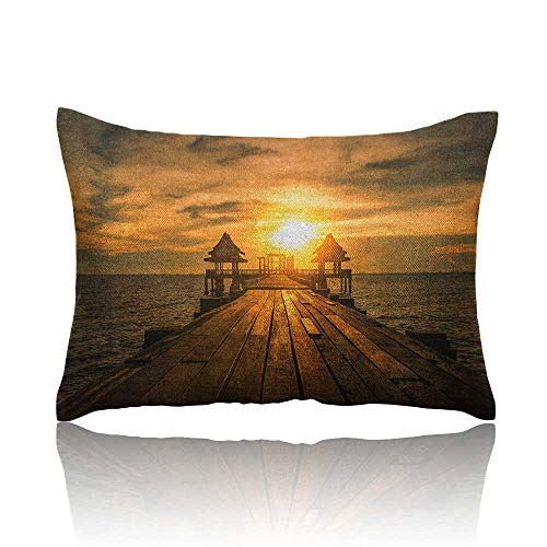 Anyangeight Beach Cars Pillowcase Wooden Dock Serene Bangkok Bay Morning Sunshine and Ocean Picture Print Youth Pillowcase 14