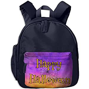 Kid's & Child's HAPPY HALLOWEEN With Black Spider Web School Bag Backpack For Summer Camp Or Ourdoor Activity