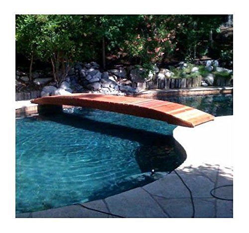Backyard Garden Bridge Hand Crafted From Redwood Planks (14 Ft. Sealed