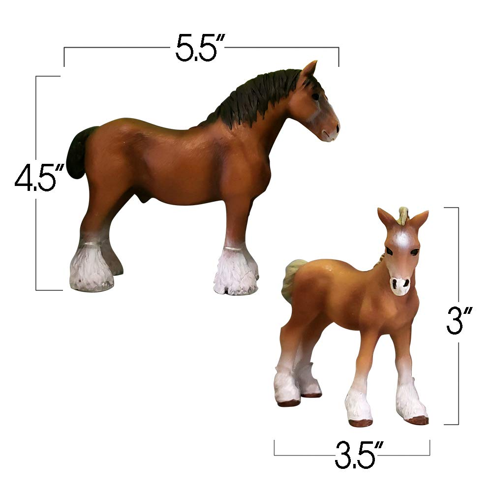 | Includes 2 Horses ArtCreativity Horse Play Set for Kids Equestrian Figurine 5-Piece Girls Fence and Haystack Birthday Gift for Boys Toddlers Durable Playset for Pretend Play Best Holiday