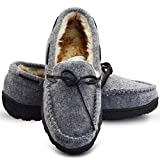 LA PLAGE Mens Soft Slippers Indoor/Outdoor Furry Artificial Wool Upper House Shoes Casual Shoes 9 US Light Grey