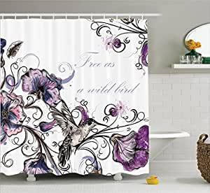Hummingbirds decor by ambesonne flowers for Bathroom paintings amazon