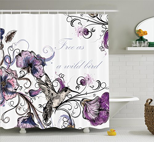 Ambesonne Hummingbirds Decorations Collection, Flowers Leaves Bird and Classic Patterns Curvy Lines Ornament Nostalgic Art, Polyester Fabric Bathroom Shower Curtain Set, 75 Inches Long, Purple Black