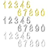 BEADNOVA 30pcs Rhodium/ Gold/ Silver Plated Satin Number 0-9 Charm Pendants for Fashion Bracelet Necklace Jewelry Making