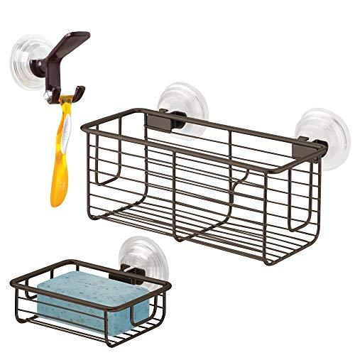 mDesign Suction Storage Set for Bathroom, Suction Soap Dish, Suction Hook and Razor Holder, Suction Storage Basket - Set of 3, Bronze