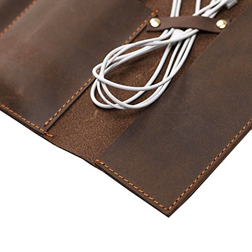 Handmade Genuine Leather Pen Case Pencil Holder Vintage Pen Pencil Roll Stationary Case Pouch for Office Uni College Students and Artists Perfect Gifts for Father/Boyfriend/Son SBD001 by TUYU (Image #2)