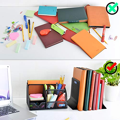 Mesh Desk Organizer with Bookends for Shelves 3 Piece Set 6 Compartments, Sliding Drawer Tray Home/Office, Dorm, Work Organization Accessories Desktop and Book Storage Black Photo #6