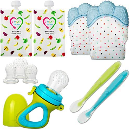 Teething Mittens for Babies with Baby Food Feeder Pacifier | Teether Set Perfect to Soothe Tender Gums | Fruit Feeder Pacifiers Safe Way to Introduce Solid Foods | Ideal Teething & First Baby Feeding from EVLA'S