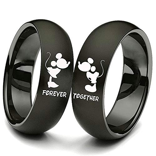 (XAHH 2pc Matching Set His and Hers Couple Titanium Steel Rings Mickey Mouse Kiss Forever Together Promise Wedding Band Black Women Size 5)