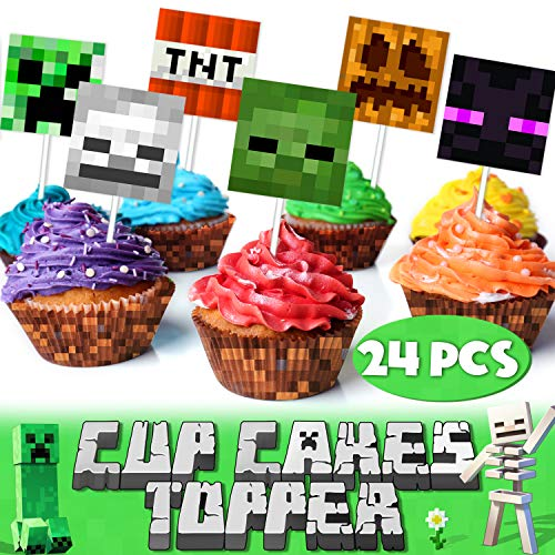 Pixel Video Game Happy Birthday Cupcake Topper Monster Block Games Theme Party Decorations Picks for Baby Shower Birthday Decor Supplies 24pcs -